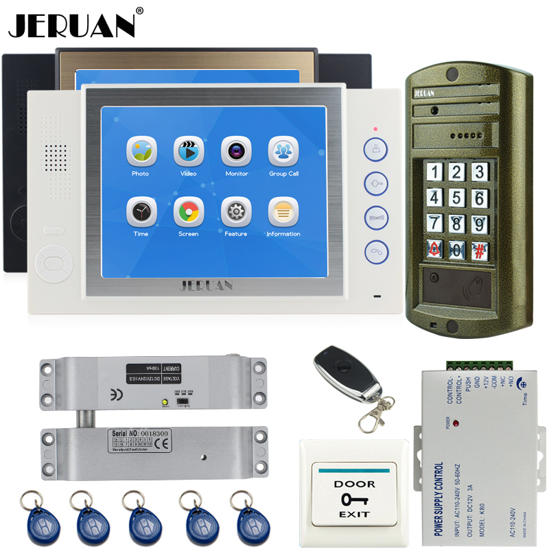 JERUAN  8`` LCD Video Intercom Door Phone  System Kit 2 Record Monitor + NEW Metal Waterproof Password HD Mini Camera + E-lock