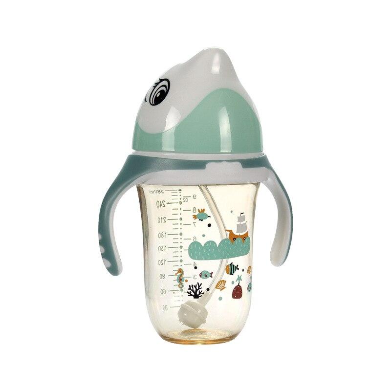 2019 280ml Baby Bottle Kids CupChildren Training Cups Cute Baby Drinking Handle Feeding Bottle Baby Feeding Bottle Dolphin in Bottles from Mother Kids