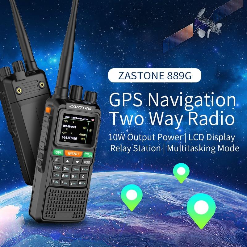 ZASTONE ZT-889G GPS SOS Portable Walkie Talkie 10W 3000mAh VHF/UHF 400-520/134-174MHz 999CH Ham Radio Communicator Transceiver