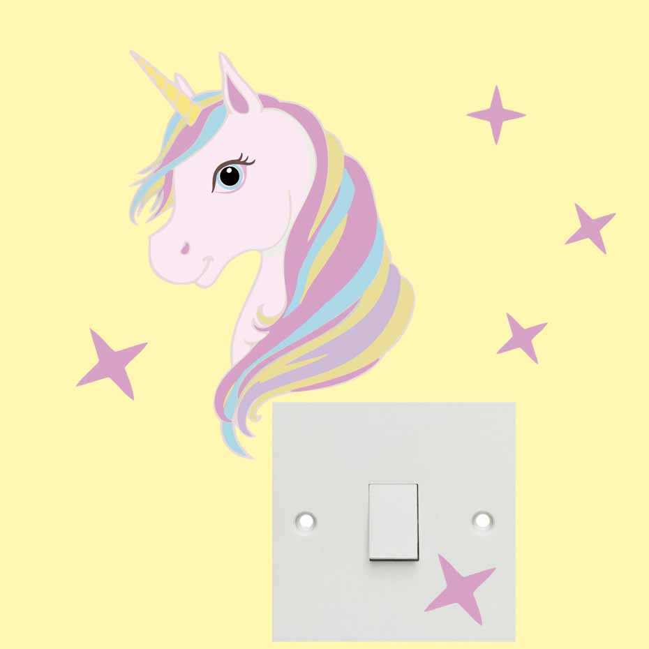 Cartoon Unicorn Stars Color Light Switch Wall Stickers For Kids ...
