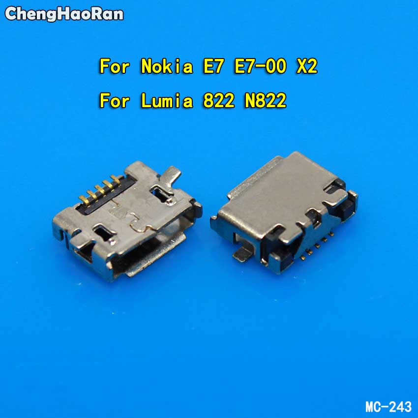 ChengHaoRan 10pcs Micro USB Jack Connector For Nokia E7 X2 Lumia 822 N822 E7 E7-00 5Pin Charging Connector Plug Dock Socket Port