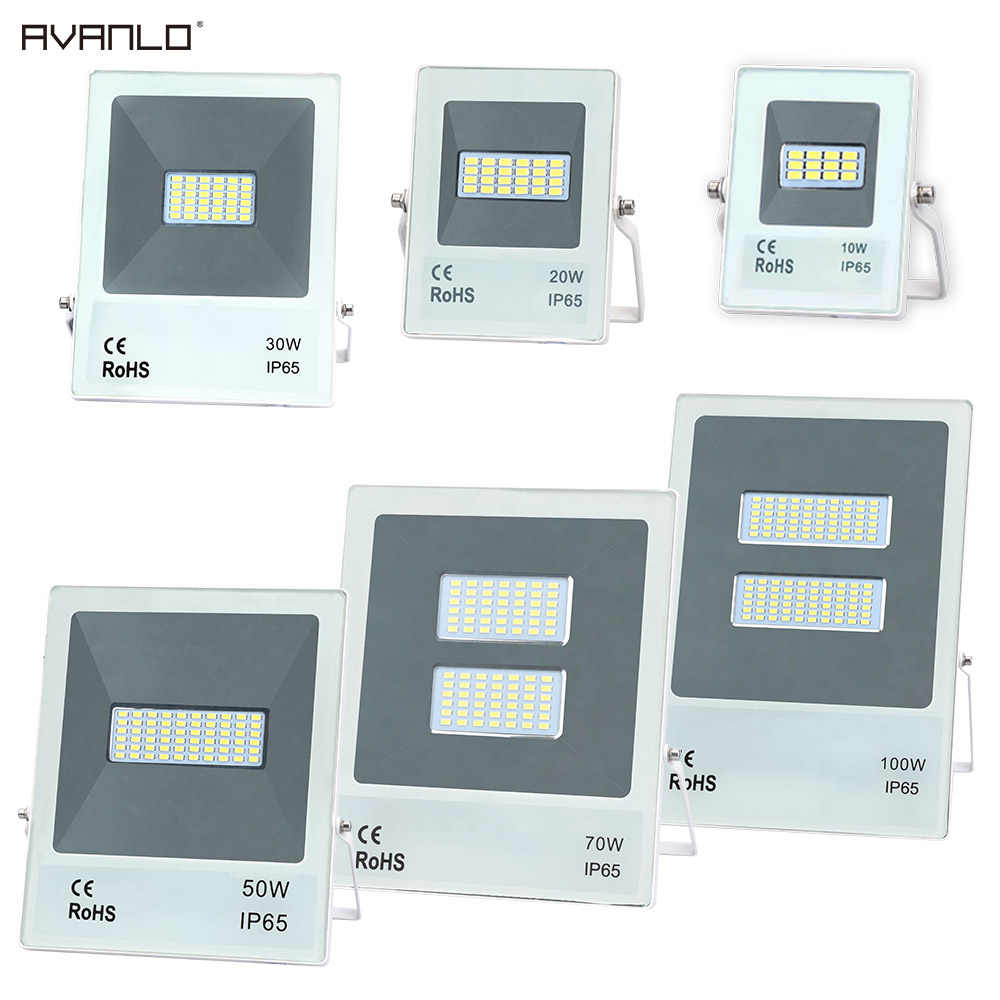 Led Flood Light Outdoor Spotlight Floodlight 10W 20W 30W 50W Wall Washer Lamp Reflector IP65 Waterproof Garden 220V100W Lighting