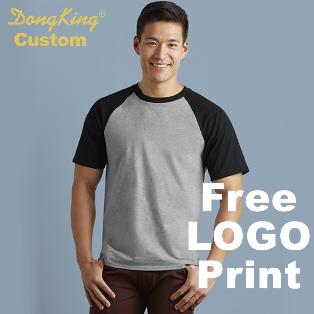 DongKing Custom Raglan T-Shirt Personalized LOGO Print Cotton Raglan T shirts 6 Colors C ...