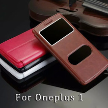 Luxury Phone Case For Oneplus One Flip Cover Call Display For Oneplus 1 Leather Case Window View Concise 1 + 1 Protective Shell