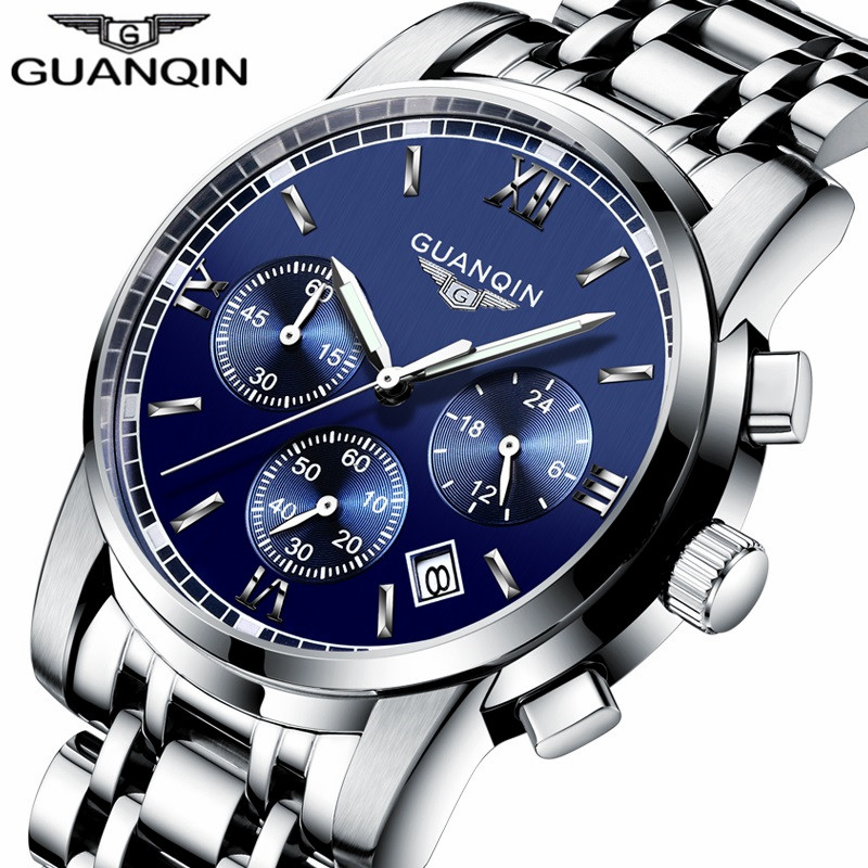 relogio masculino New GUANQIN Mens Watches Top Brand Luxury Chronograph Luminous Clock Men Business Stainless Steel Quartz Watch migeer relogio masculino luxury business wrist watches men top brand roman numerals stainless steel quartz watch mens clock zer
