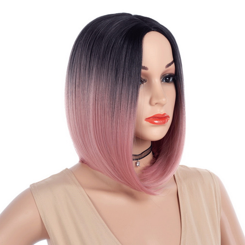 Yiyaobess 12inch Straight Black Grey Ombre Short Bob Wig Synthetic Hair Two Tone Pink Red Green Blue Wigs For Women in Synthetic None Lace Wigs from Hair Extensions Wigs