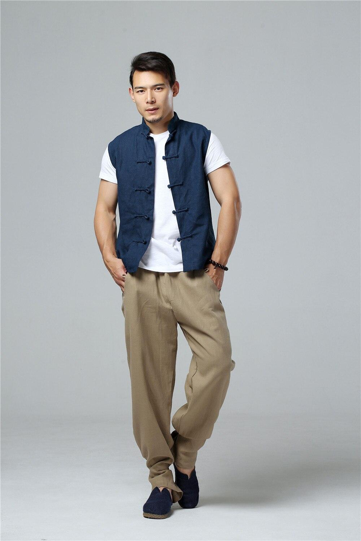 LZJN 2019 Men's Summer Waistcoat Chinese Style Vintage Breathable Linen Button Down Kung Fu Shirt Sleeveless Vest Jacket  (19)