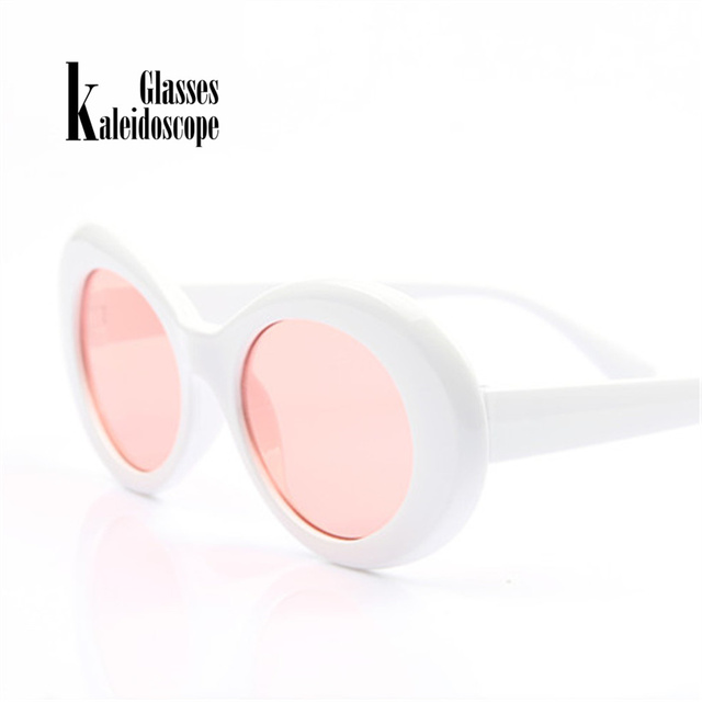 aa7eb0eb15a Kaleidoscope Glasses Women Clout Goggles Men Kurt Cobain Glasses Vintage  Oval Sunglasses Transparent Pink Lenses Eyeglasses