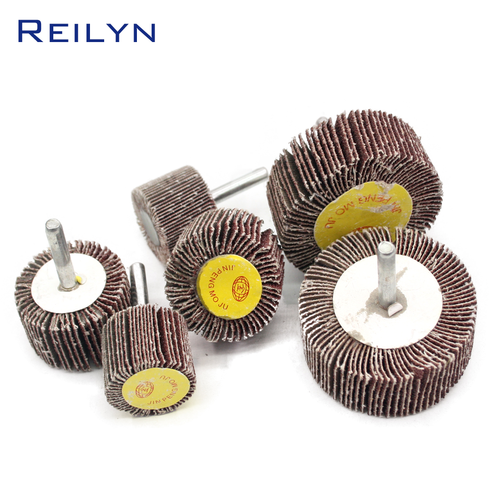Sand Paper Polishing Wheel 6x30/40/50/60/80mm Abrasive Mops-wheel Spindle Mops Mounted Flap Wheels Grinding Bits Abrasive Block