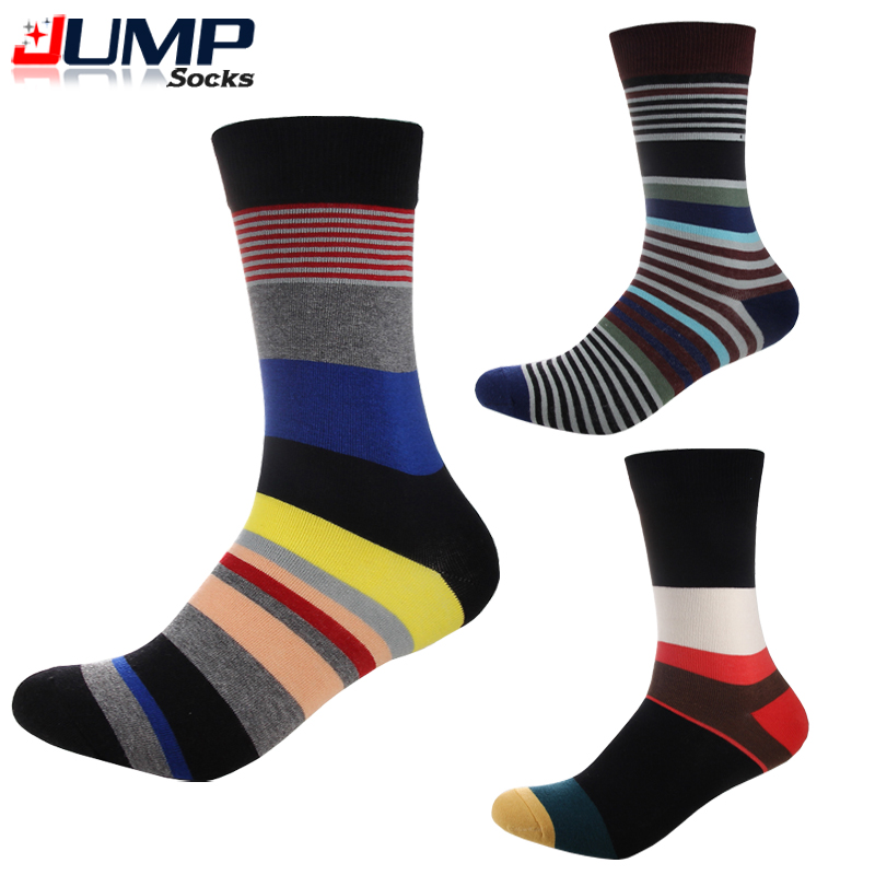 High Quality Fashion Brand Mens Socks Cotton Multi Color Casual Stripe Business Dress Socks Tide Chaussettes