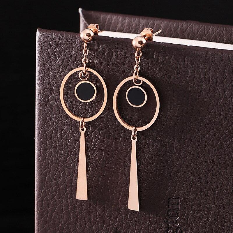 Jewelry Geometric Circle Line Black Shell Dangle Earrings Rose Gold color Stainless steel Long Drop Earrings For Women Earings