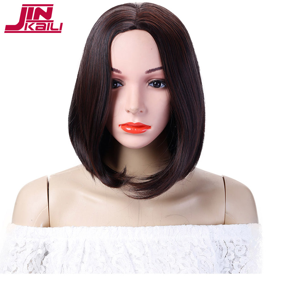 JINKAILI WIG Dark Brown Bob Wigs Short Straight Syntheyic Hair Full Wigs for Women Natural Looking ...