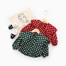 Kids Blouse for Girls Polka Dot Lotus leaf Collar girls school blouses baby girl blouse Children Clothing Korean style 2019 Top girls polka dot cami top