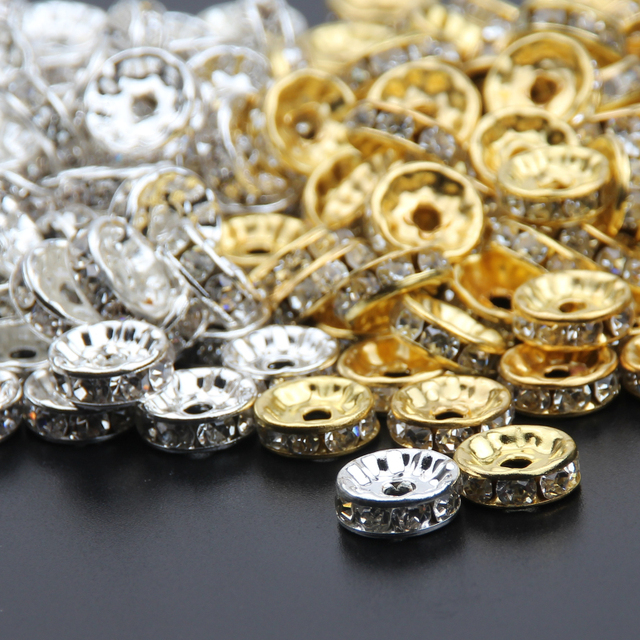 Silver Gold Crystal Rhinestone Beads 6mm 8mm 10mm Rondelle Spacer Beading  Beads 500pcs pack For Bracelet Jewelry Making DIY 4906b606ac1c
