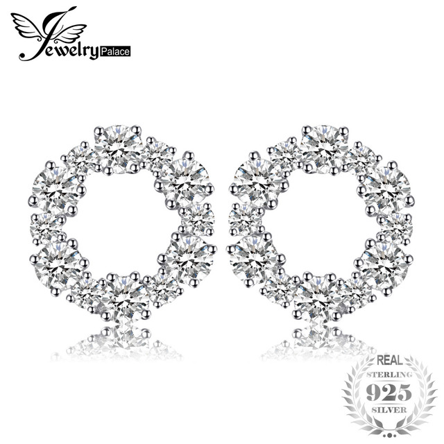 Jewelrypalace 925 Sterling Silver Circle Stud Earrings Flower Design Fashion Style Earring Fine Jewelry