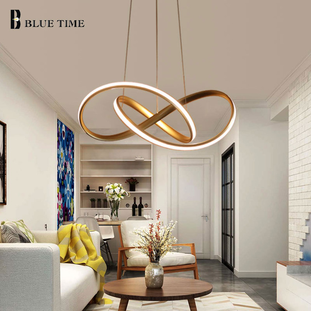 Gold Black White Finished Acrylic Modern Pendant Lights For Living Room Dining Room Led Home Lighting