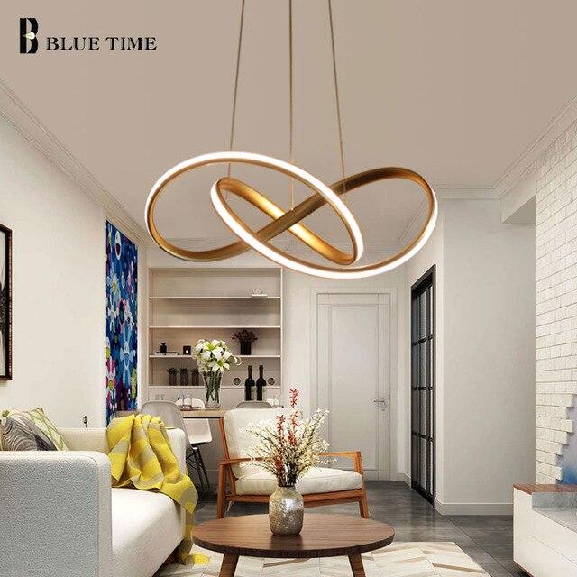 Or noir blanc fini acrylique moderne pendentif lumières pour salon salle à manger éclairage LED maison luminaire Simple lampes LED.