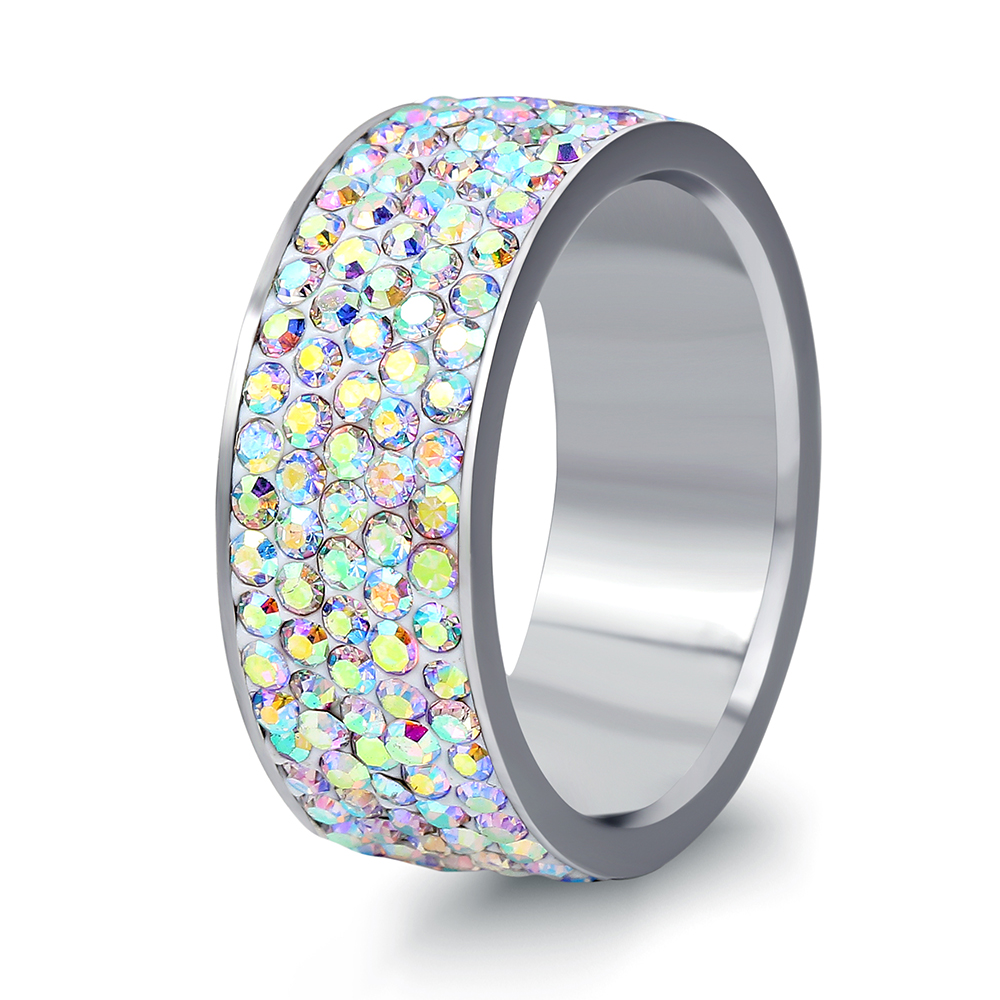 AB Shining 5Row Crystal Weeding Ring For Women or girls High Quality Stainless Steel NIB ...