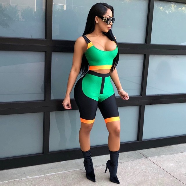 Zmvkgsoa Sexy Short Two Piece Set Crop Tops And Biker Shorts Bodycon Matching Sets Summer Clothes For Women Tracksuits Y11096