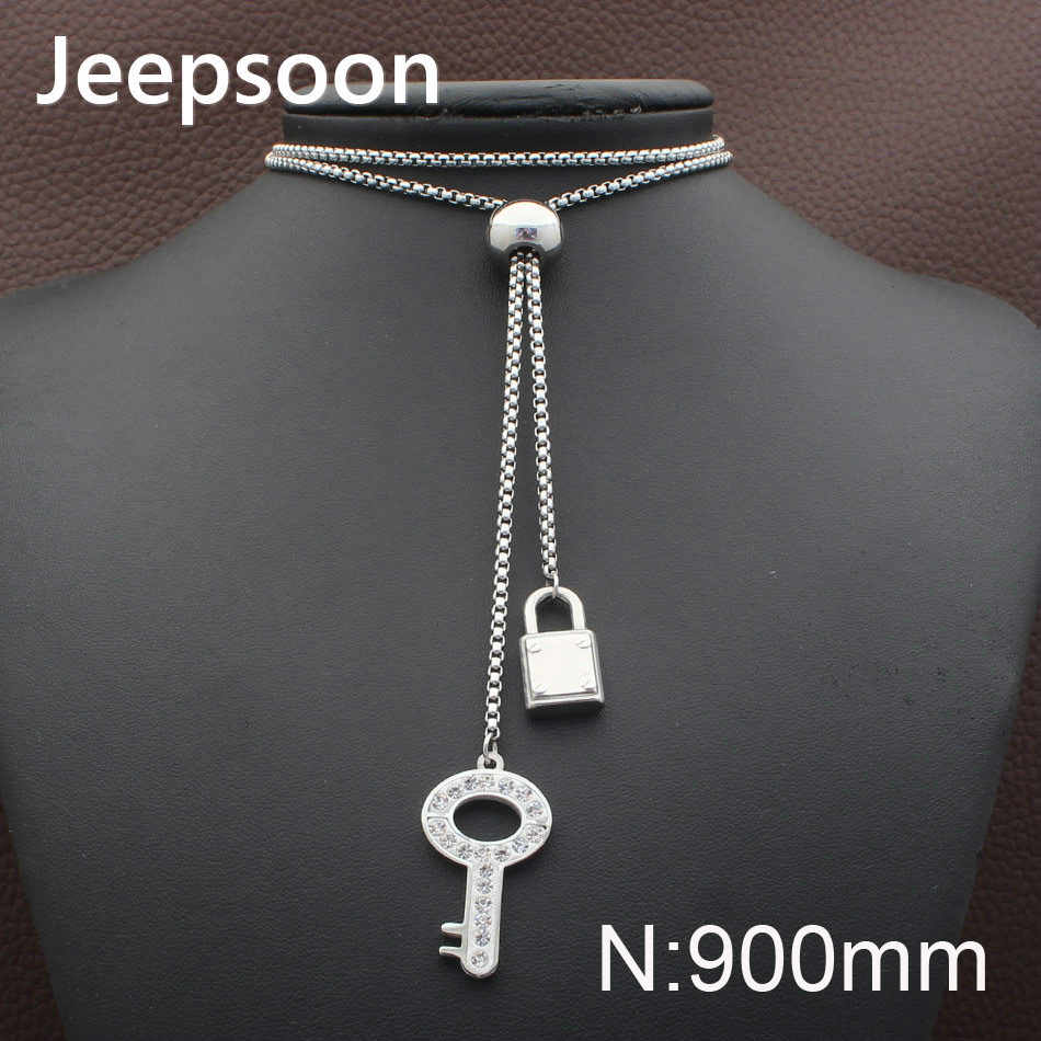 Jeepsoon KEY style Fashion Stainless Steel Jewelry For Woman 900mm Long Sweater Chain Necklace High Quality Newest NEIZADBC