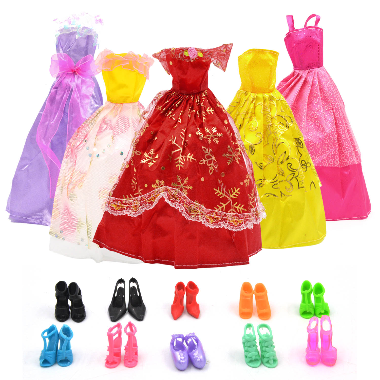 Largos Mini De Accesorio Barbie 10 Princesa Boda Con Muñeca Alto Vestidos Trajes 5 Ropa Piezas Besegad Pares Zapatos Tacón Para Niña QsthrdCx