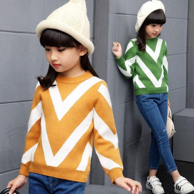 Новорожденный ребенок осень одежда более волна вырезать полоску свитер рукав все девушки свитер вязание пальто WER11