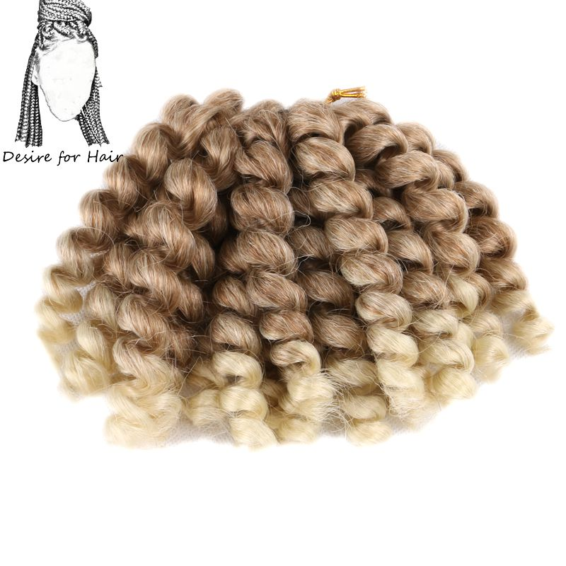 Desire For Hair 10packs 8inch 80g 20strands Crochet Jumpy Wand Curl Bounce Twist Braids Hair Ombre 27/613#