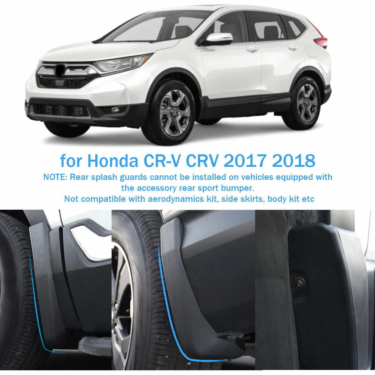 Car Mudflaps Fender Flares For Honda//CR-V CRV 2017 2018 2019 2020 Mudguards Mud Flaps Splash Guards
