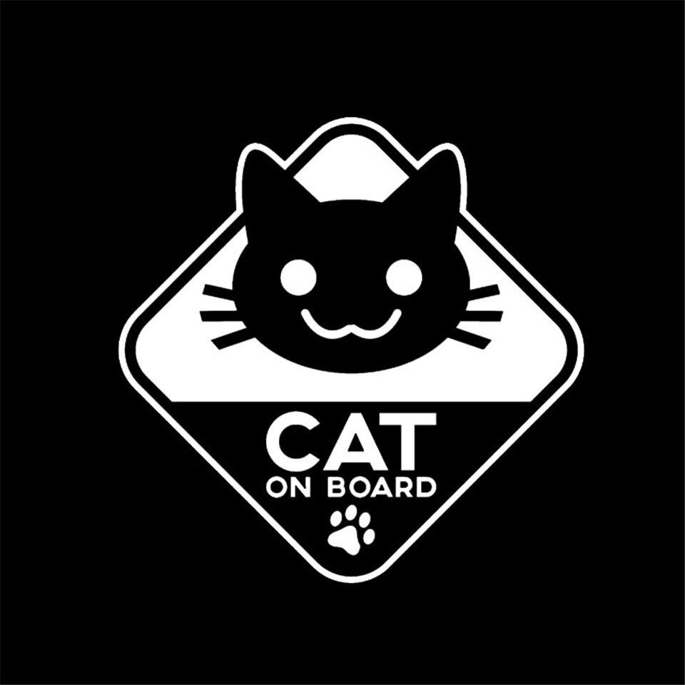 16CM16CM Funny Vinyl Sticker Car Decal CAT ON BOARD BlackSilverLaser (3)