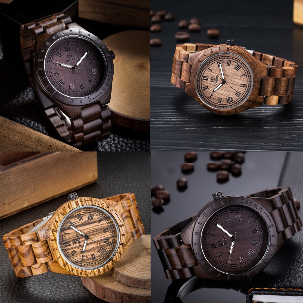 цена на Mens Watches Black Natural sandal Wooden Wristwatches Wooden Band Wood Watches for Men and Women Japan Movement Quartz Watch
