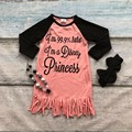 spring baby girls new design cotton coral i'm a princess dresses tassel dress long sleeves with matching bow and necklace set