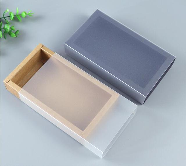 9 Sizes Black Kraft Packaging Cardboard Box With Frosted Window Packaging Gift Box Black Paper Drawer Boxes Gift Cardboard Box