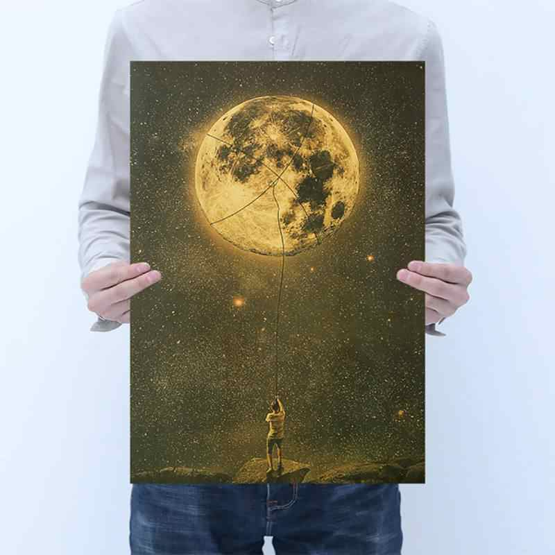 Frameless Modern Poster Kraft Paper Adornment Movie Pictures Coffee Shop Home Bar Wall Decoration Multidesign Retro Art Painting