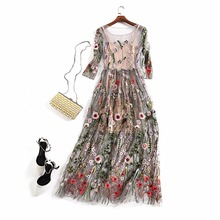Sexy Two Pieces Gorgeous Runway Dress Boho Bohemian long Dresses Feminino Vestidos Mesh Floral Embroidered Sheer Dress