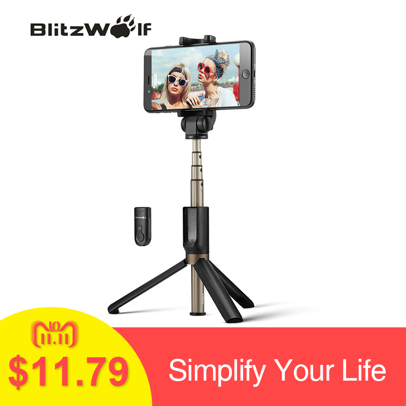 BlitzWolf 3 в 1 беспроводной Bluetooth селфи палка мини штатив Выдвижная монопод универсальный для iPhone XR X 7 6s плюс samsung