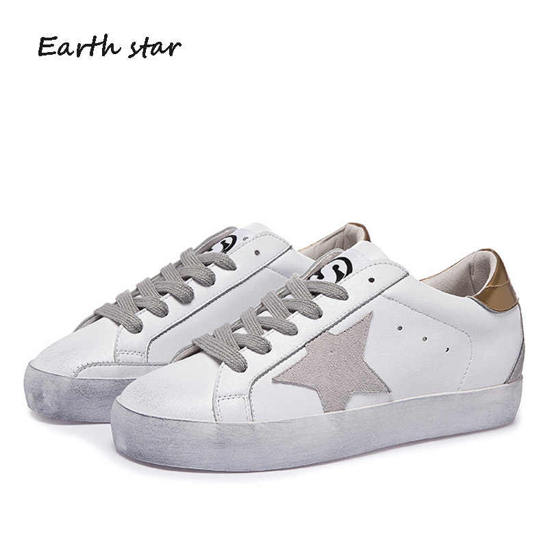 Real Leather Dirty Shoe Women Fashion High Top Sneakers Lady chaussure Star  Autumn Female footware Breathable 94b7907af298