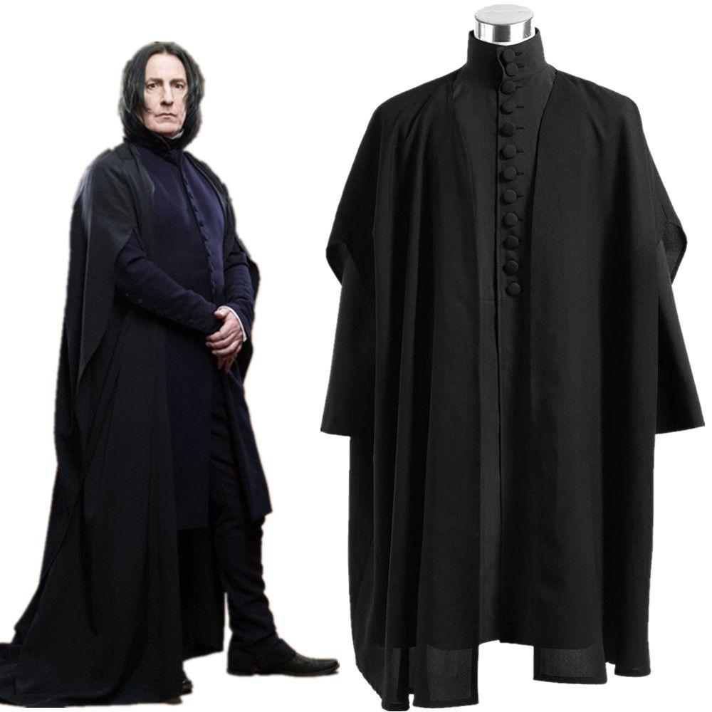 Harri Potter Deathly Hallows Severus Snape Black Uniform Cosplay Costume Cloak Slytherin School