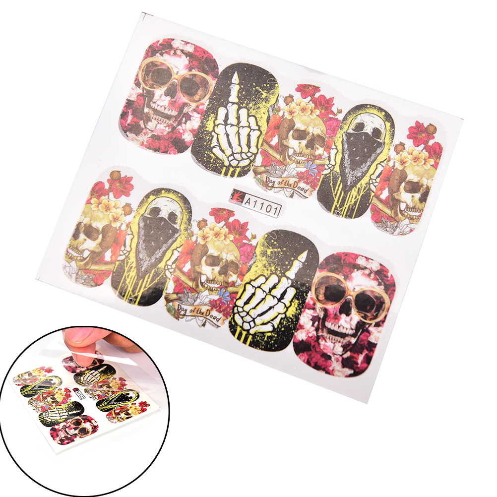 48sheets Water decal Nail Sticker design Nail Art Decals Water Transfer sticker Tips Halloween design