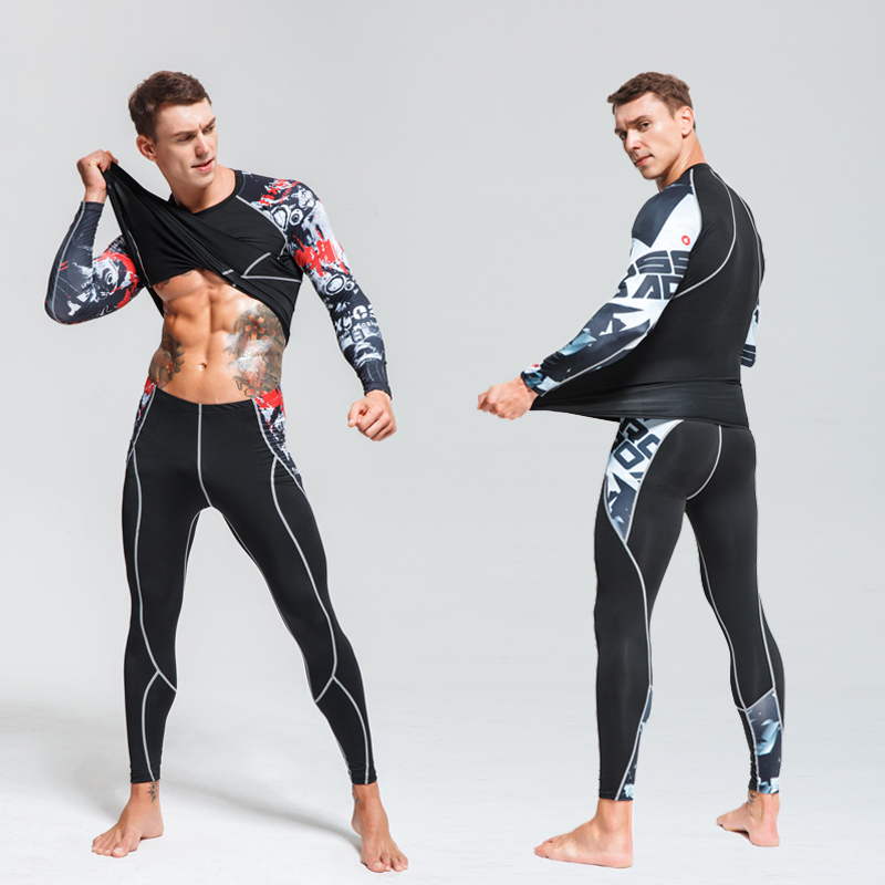 Trendmarkierung Mens Compression Hemd Set Bodybuilding Engen Langen Ärmeln Shirts Leggings Anzüge Mma Crossfit Workout Fitness Sportswear Zahlreich In Vielfalt Bodys & Einteiler