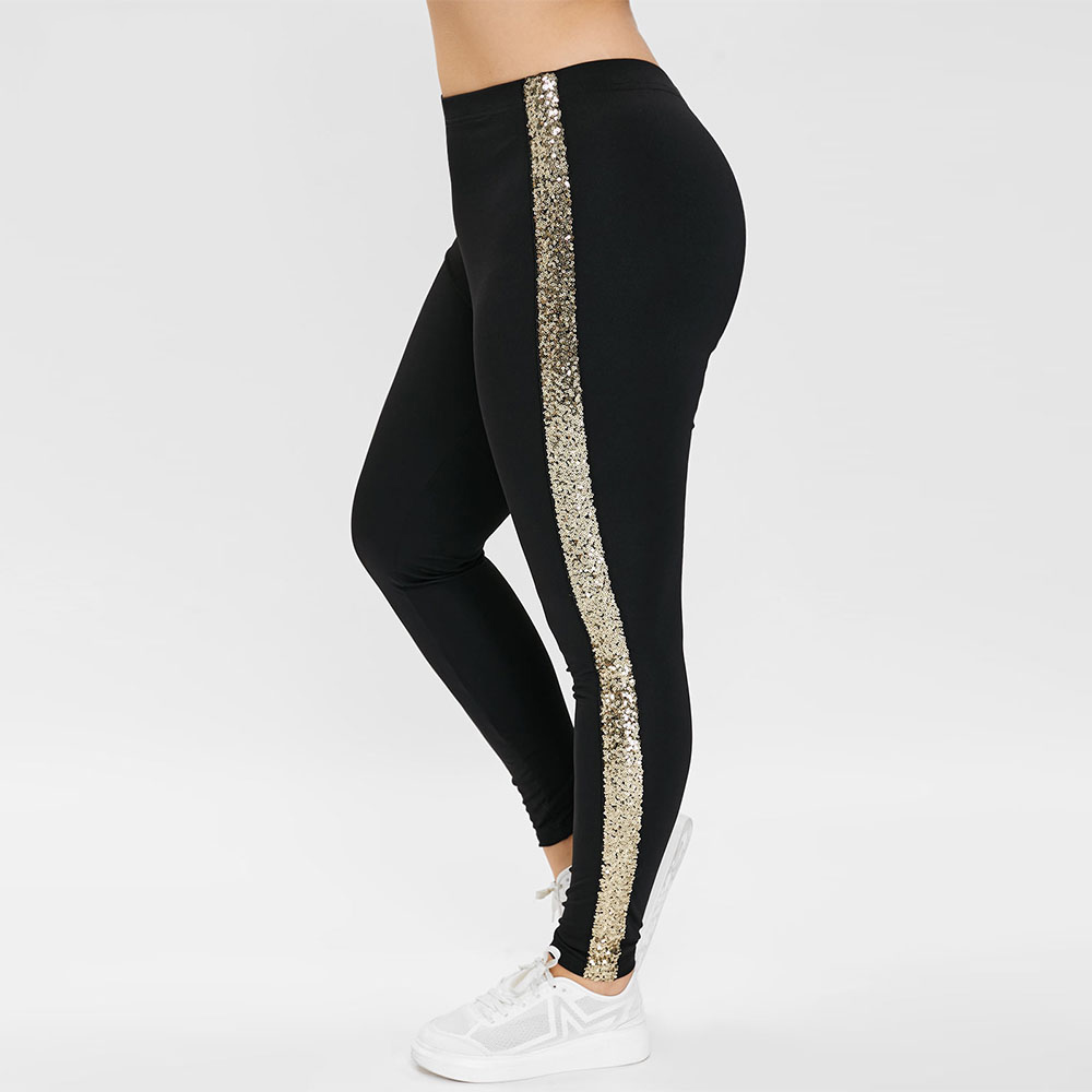 Rosegal Plus Size High Waisted   Leggings   with Sequined Women Pants Black Skinny Elastic Waist   Leggings   Casual Lady Trousers 2019