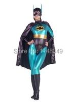 Blue & Black Batman Shiny Metallic Superhero Costume