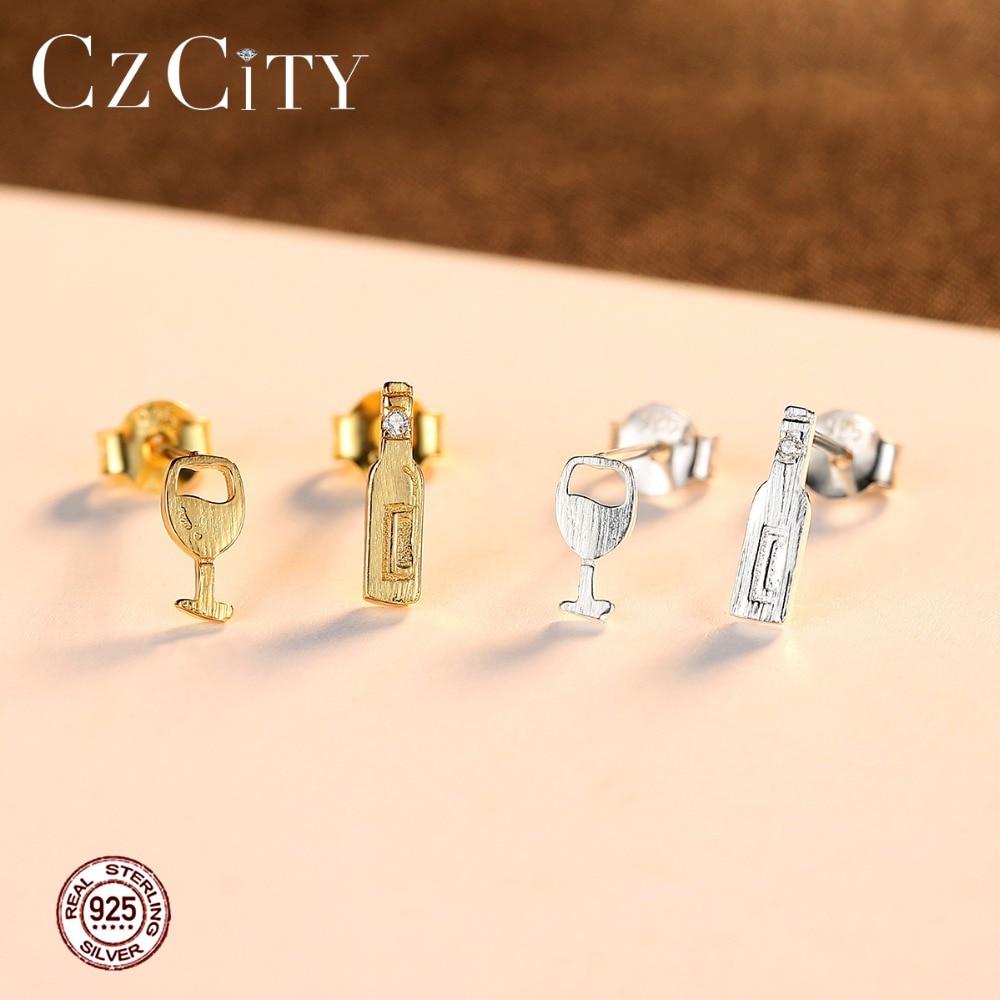 CZCITY Design Cute Wine Bottle-shaped Stud Earrings for Women Party Creative Cartoon Girls Earrings Gift 925 Silver Fine Jewelry