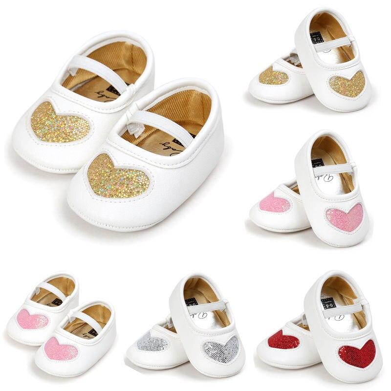 0-18M Newborn Baby Girl Soft Sole PU Leather Crib Shoes Heart-shaped Anti-slip Sneaker Prewalker