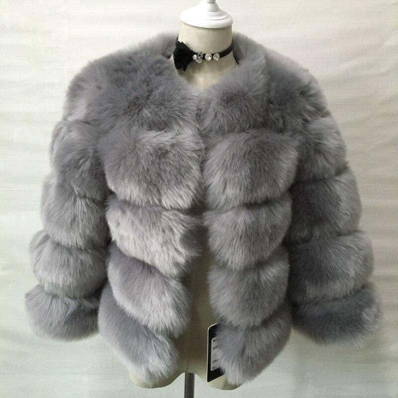 Fausse Plus 2018 Manteau Fashions Femmes Casual Fluffy Partie Survêtement Furry Noir Fourrure Pardessus Court Size Hiver nIwnx4g