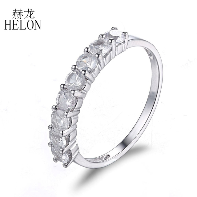 HELON Solid 10K White Gold Eternity 3mm Round Shape White Topaz Engagement Wedding Band Prong Setting Women's Fine Jewelry
