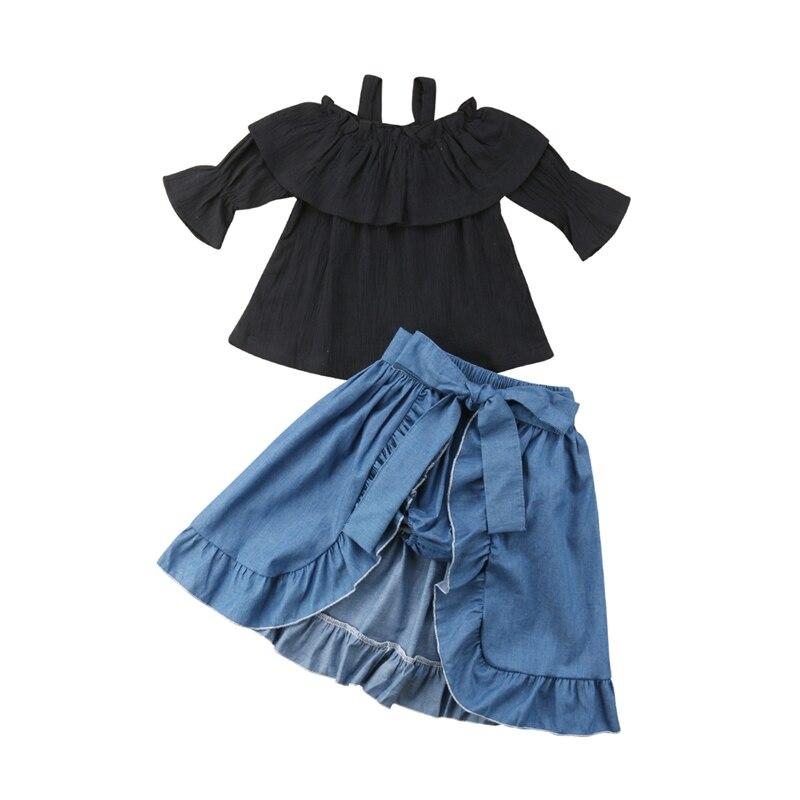 Kids Baby Girl Mermaid Ruffle Crop Tops Pants Leggings 3PCS Outfits Set Sunsuit