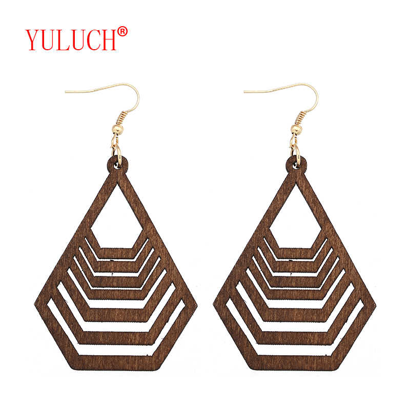 YULUCH Ethnic New Design Geometric Wooden Pendant Hollow Water Wave Pattern for African Women Jewelry Earrings Gifts