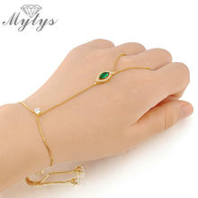 Mytys Green Color Crystal Slave Bracelet Women Fashion Palm Bracelet Connected Ring Palm Cuff Bracelet Jewelry R963(China)