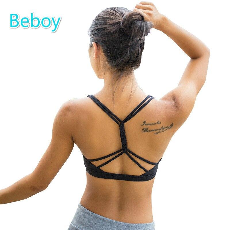 Prix pour Beboy Push Up Sport Soutien-Gorge Top Respirant Courir Yoga Soutien-Gorge De Sport Rembourré Sport Bras Femmes Sans Fil De Danse Sous-Vêtements Compression Gilet
