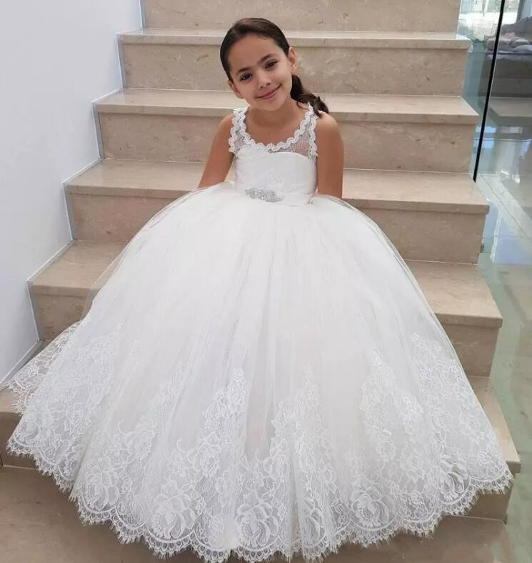 New Ball Gown Flower Girls Dresses Lace Tulle Floor Length Children Birthday Holiday Christmas Dress Custom MadeNew Ball Gown Flower Girls Dresses Lace Tulle Floor Length Children Birthday Holiday Christmas Dress Custom Made
